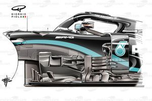 Mercedes AMG F1 W11 bargeboard at Spa