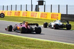 Sebastian Vettel, Ferrari SF1000, passes Nicholas Latifi, Williams FW43