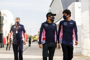 Otmar Szafnauer, Team Principal and CEO, Racing Point, Sergio Perez, Racing Point, and Lance Stroll, Racing Point