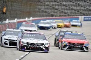 Denny Hamlin, Joe Gibbs Racing, Toyota Camry FedEx Shipathon, Christopher Bell, Leavine Family Racing, Toyota Camry Procore