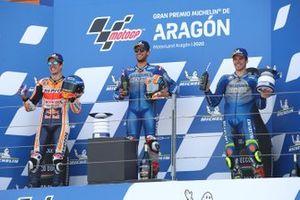 Race winner Alex Rins, Team Suzuki MotoGP, second place Alex Marquez, Repsol Honda Team, third place Joan Mir, Team Suzuki MotoGP