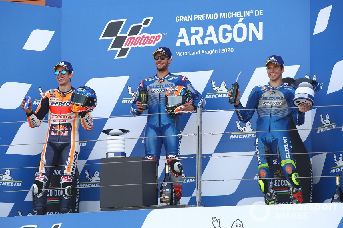 Il vincitore della gara Alex Rins, Team Suzuki MotoGP, secondo classificato Alex Marquez, Repsol Honda Team, terzo classificato Joan Mir, Team Suzuki MotoGP