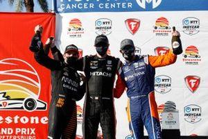 Josef Newgarden, Team Penske Chevrolet, Patricio O'Ward, Arrow McLaren SP Chevrolet, Scott Dixon, Chip Ganassi Racing Honda celebrate on the podium with champagne