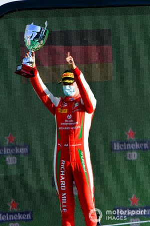 Race Winner Mick Schumacher, Prema Racing celebrates on the podium with the trophy
