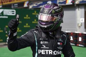 Lewis Hamilton, Mercedes-AMG Petronas F1, celebrates pole in Parc Ferme