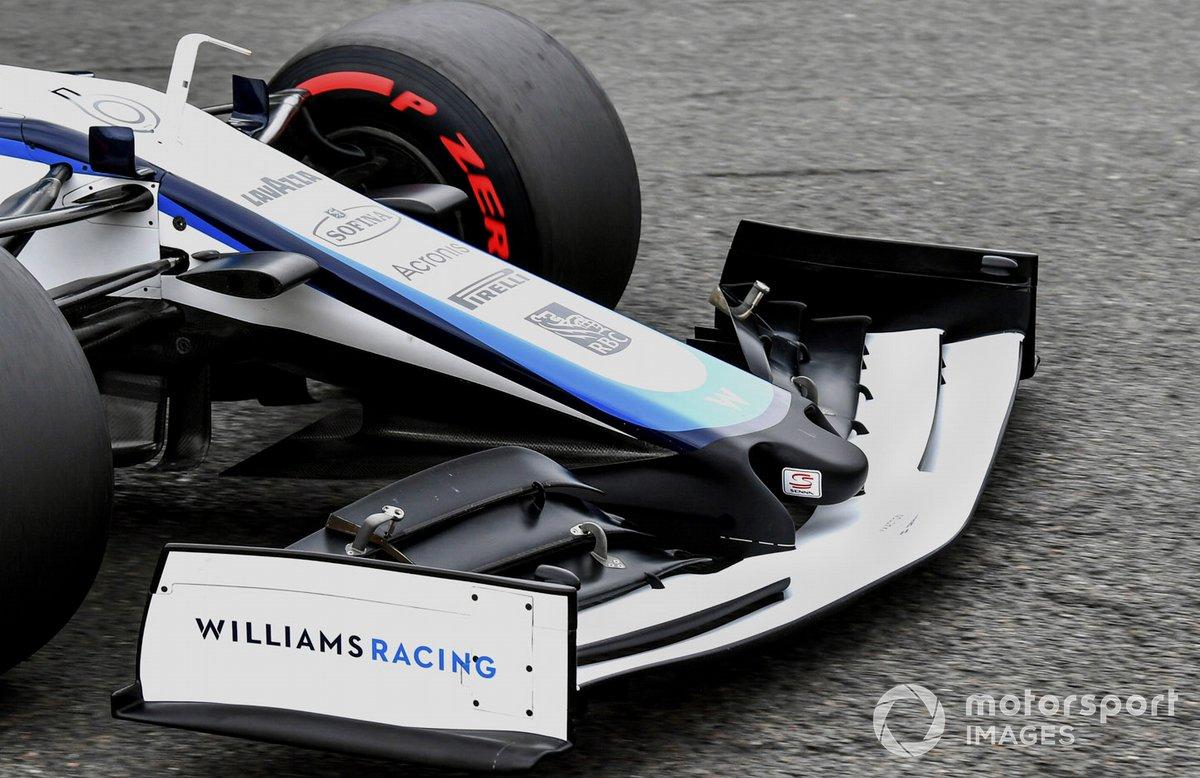 El alerón delantero del monoplaza de Nicholas Latifi, Williams FW43