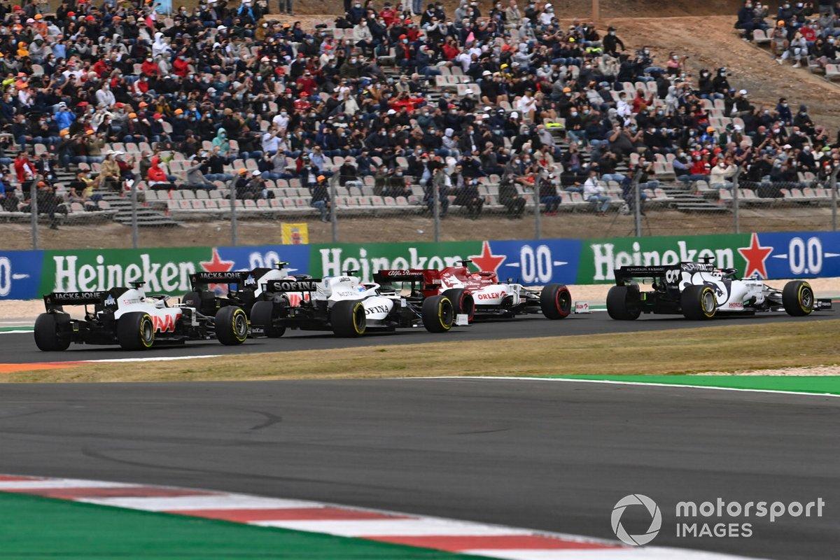 Daniil Kvyat, AlphaTauri AT01 Kimi Raikkonen, Alfa Romeo Racing C39, George Russell, Williams FW43, Kevin Magnussen, Haas VF-20, Romain Grosjean, Haas VF-20
