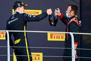 Christian Lundgaard, ART Grand Prix, 1st position, celebrates with his team mate on the podium