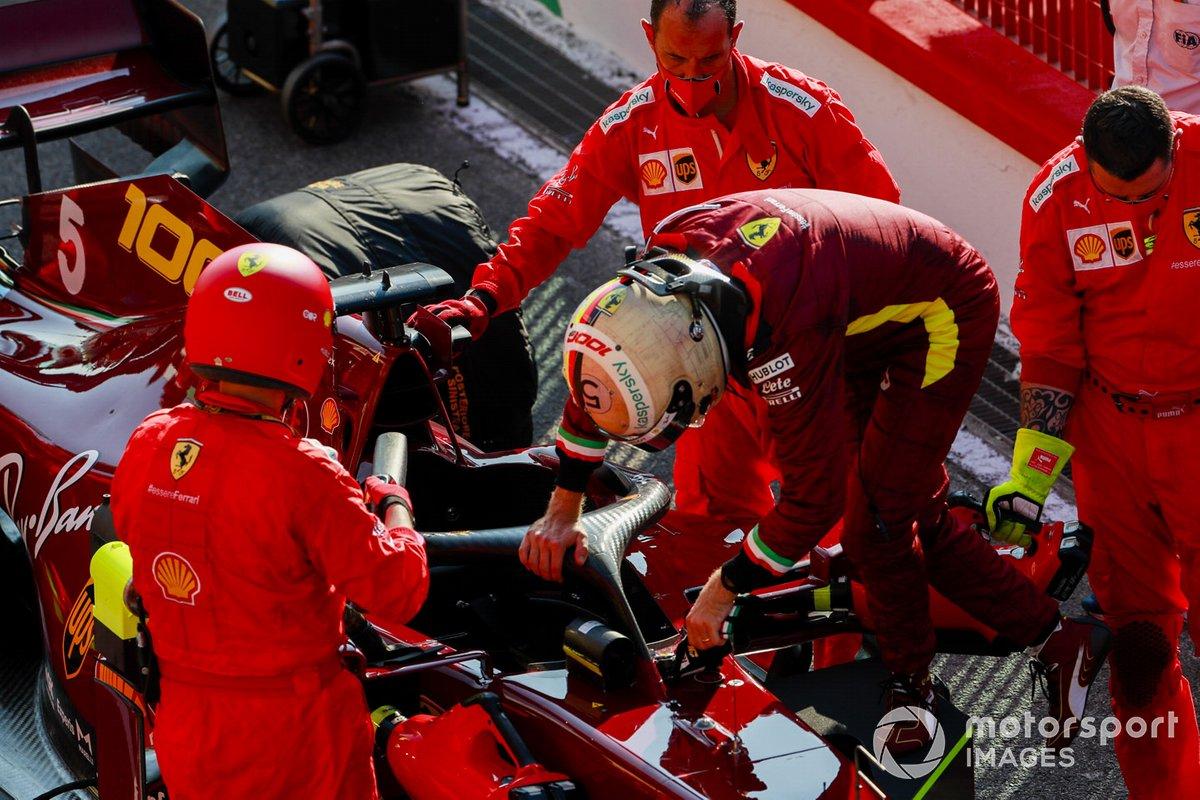 Sebastian Vettel, Ferrari, en pits