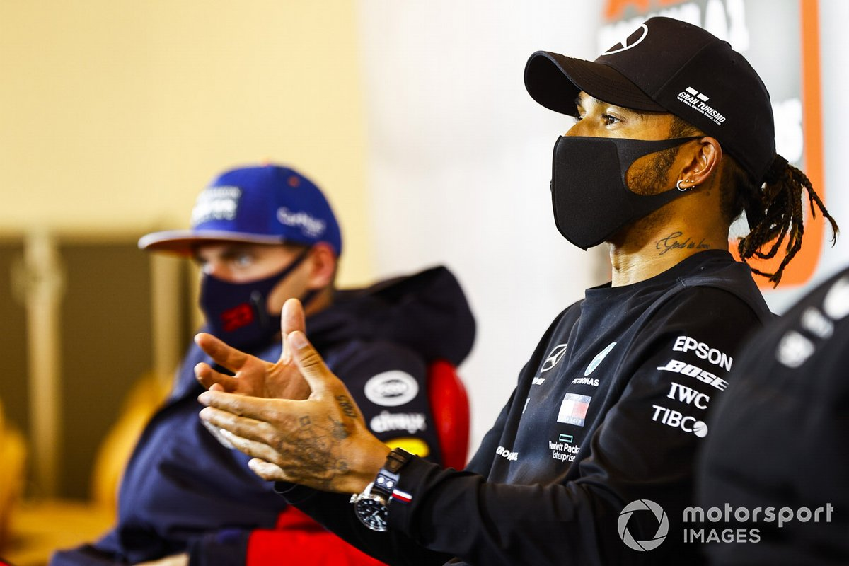 Lewis Hamilton, Mercedes-AMG F1, 1st position, and Max Verstappen, Red Bull Racing, 2nd position, in the Press Conference
