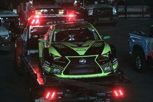 Damaged #12 AIM Vasser Sullivan Lexus RC-F GT3, GTD: Michael De Quesada, Townsend Bell returns to the paddock on a flatbed
