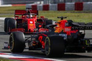 Sebastian Vettel, Ferrari SF1000, suffers a spin ahead of Max Verstappen, Red Bull Racing RB16