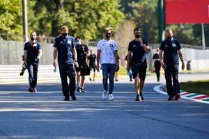 Pierre Gasly, AlphaTauri, walks the track