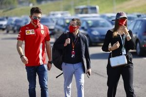 Charles Leclerc, Ferrari, Charlotte Siné and manager manager Nicolas Todt
