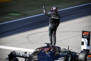 Lewis Hamilton, Mercedes-AMG F1, celebrates pole on the grid