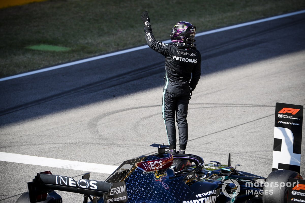 Lewis Hamilton, Mercedes-AMG F1, celebrates pole on the grid