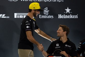 Daniel Ricciardo, Renault F1 Team and Romain Grosjean, Haas F1 in the Press Conference