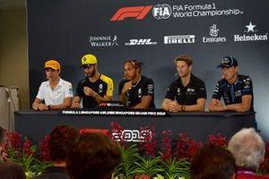 Lando Norris, McLaren, Daniel Ricciardo, Renault F1 Team, Lewis Hamilton, Mercedes AMG F1, Romain Grosjean, Haas F1 en Robert Kubica, Williams Racing