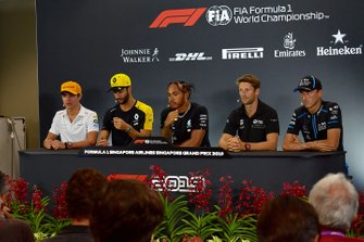 Lando Norris, McLaren, Daniel Ricciardo, Renault F1 Team, Lewis Hamilton, Mercedes AMG F1, Romain Grosjean, Haas F1 andRobert Kubica, Williams Racing in the Press Conference