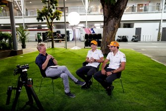 Simon Lazenby, Sky TV interviews Lando Norris, McLaren and Carlos Sainz Jr., McLaren