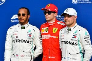 Lewis Hamilton, Mercedes AMG F1, Pole Sitter Charles Leclerc, Ferrari and Valtteri Bottas, Mercedes AMG F1 in Parc Ferme