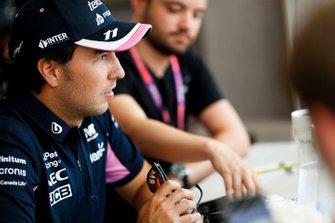 Sergio Perez, Racing Point talks to the media