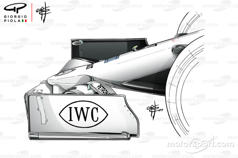 Mercedes AMG F1 W10 voorvleugel detail