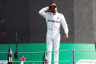 Lewis Hamilton, Mercedes AMG F1, 3rd position, on the podium