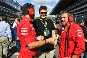 Musician and Song Writer John Newman on the grid with Ferrari personnel