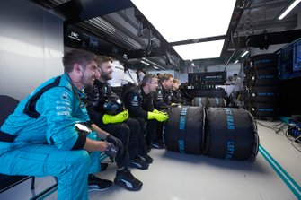The Mercedes pit crew in the garage