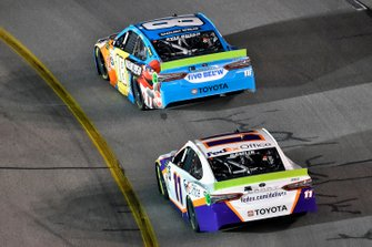 Kyle Busch, Joe Gibbs Racing, Toyota Camry M&M's Hazelnut and Denny Hamlin, Joe Gibbs Racing, Toyota Camry FedEx Office