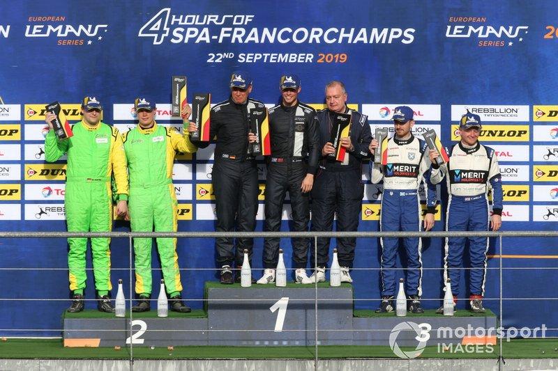 LMP3-Podium: 1. #11 Eurointernational Ligier JS P3 Nissan: Mikkel Jensen, Jens Petersen, 2. #13 Inter Europol Competition Ligier JS P3 Nissan: Martin Hippe, Nigel Moore, 3. #7 Nielsen Racing Ligier JS P3 Nissan: James Littlejohn, Nicholas Adcock