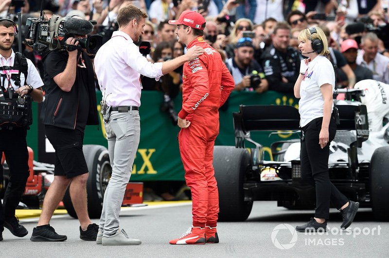 Jenson Button, Sky Sports F1, intervista Charles Leclerc, Ferrari, terza posizione, al Parc Ferme