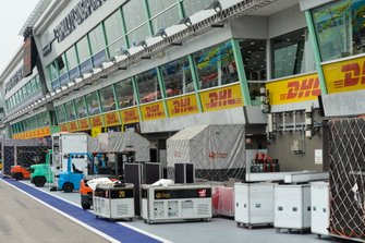 Freight belonging to the Haas team in the pit lane