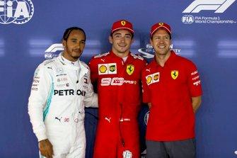 Lewis Hamilton, Mercedes AMG F1, Pole sitter Charles Leclerc, Ferrari and Sebastian Vettel, Ferrari in Parc Ferme