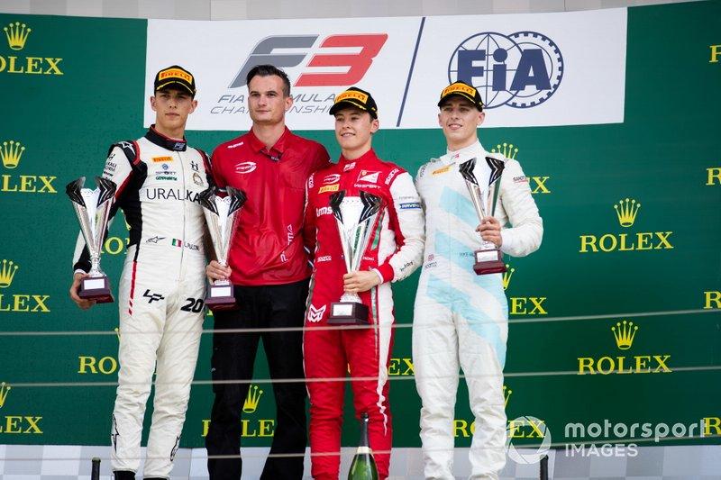 Marcus Armstrong, PREMA Racing Leonardo Pulcini, Hitech Grand Prix en Jake Hughes, HWA RACELAB