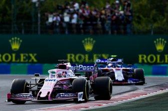 Sergio Perez, Racing Point RP19, leads Alexander Albon, Toro Rosso STR14
