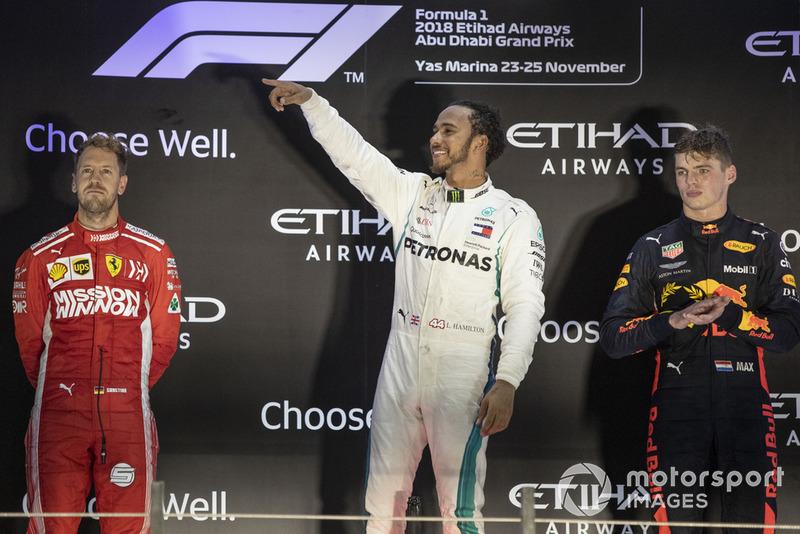 Sebastian Vettel, Ferrari, Lewis Hamilton, Mercedes AMG F1 and Max Verstappen, Red Bull Racing celebrate on the podium