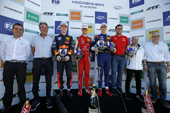 Champion ship Podium: Champion Mick Schumacher, PREMA Theodore Racing Dallara F317 - Mercedes-Benz, second place Dan Ticktum, Motopark Dallara F317 - Volkswagen, third place Robert Shwartzman, PREMA Theodore Racing Dallara F317 - Mercedes-Benz