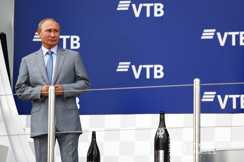 Vladimir Putin, President of Russia, on the podium