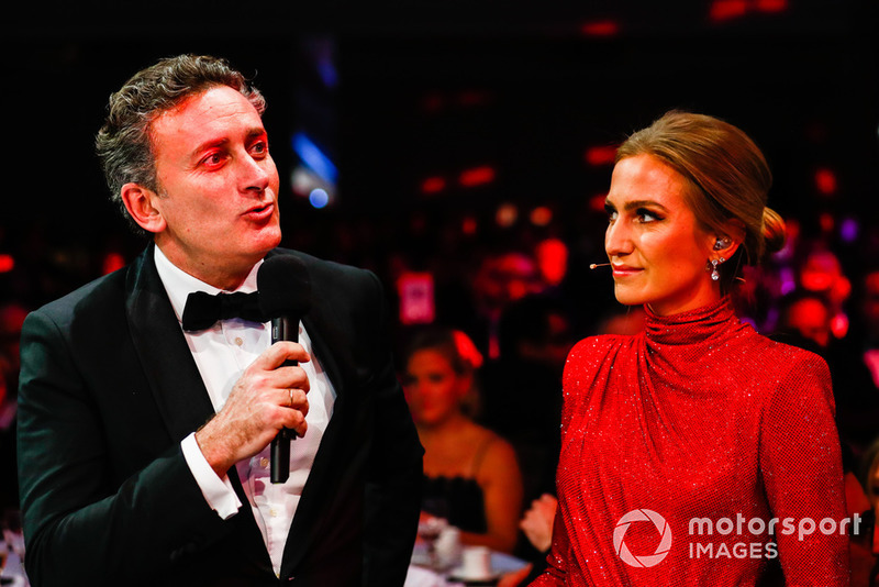FIA Formula E CEO Alejandro Agag talks with Julia Piquet