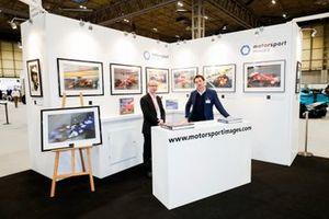 Motorsport Images staff Kevin Wood and James Claydon at the Motorsport Images display