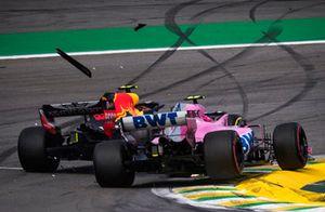 Aanrijding Max Verstappen, Red Bull Racing RB14 en Esteban Ocon, Racing Point Force India VJM11