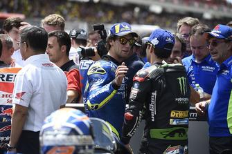 Il secondo classificato Alex Rins, Team Suzuki MotoGP, il terzo classificato Johann Zarco, Monster Yamaha Tech 3