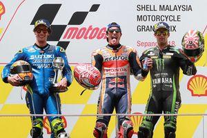 podium: race winner Marc Marquez, Repsol Honda Team, second place Alex Rins, Team Suzuki MotoGP, third place Johann Zarco, Monster Yamaha Tech 3