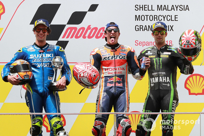 podium: race winner Marc Marquez, Repsol Honda Team, second place Alex Rins, Team Suzuki MotoGP, third place Johann Zarco, Monster Yamaha Tech 3