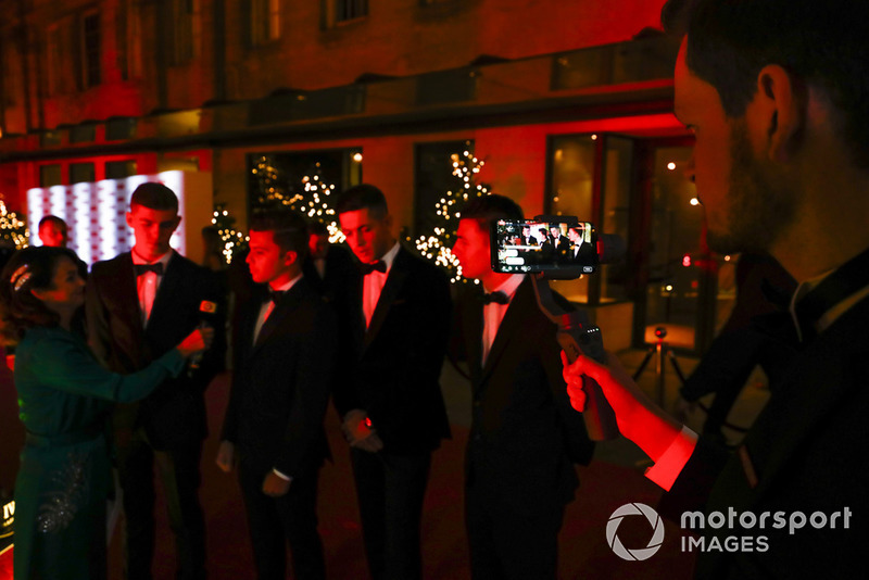 McLaren Autosport BRDC Award nominees Jamie Caroline, Tom Gamble, Max Fewtrell and Kiern Jewiss being interviewed on the red carpet