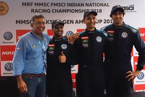 Race winner Jeet Jhabakh, second place Dhruv Mohite, third place Anmol Singh with Sirish Vissa, Head of Volkswagen Motorsport India
