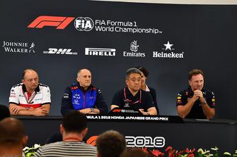 Frederic Vasseur, Sauber, Director del equipo, Franz Tost, Director del equipo Scuderia Toro Rosso, Toyoharu Tanabe, Director técnico de Honda F1 y Christian Horner, Director del equipo Red Bull Racing en la Conferencia de prensa