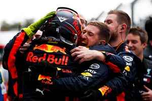 Max Verstappen, Red Bull Racing, 1st position, celebrates with his team in Parc Ferme